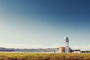 Radar tower at Tempelhof Airport in Berlin, Germany.