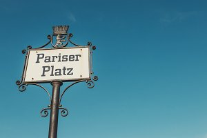 Pariser Platz sign, Berlin, Germany.