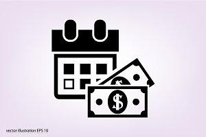 Money and calendar icon