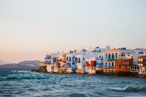 Little Venice the most popular attraction in Mykonos Island in the evening light on Greece, Cyclades