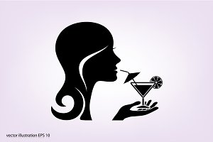 The girl with a drink glass