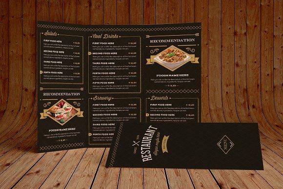 elegant food menu 3 dark version brochure templates creative market