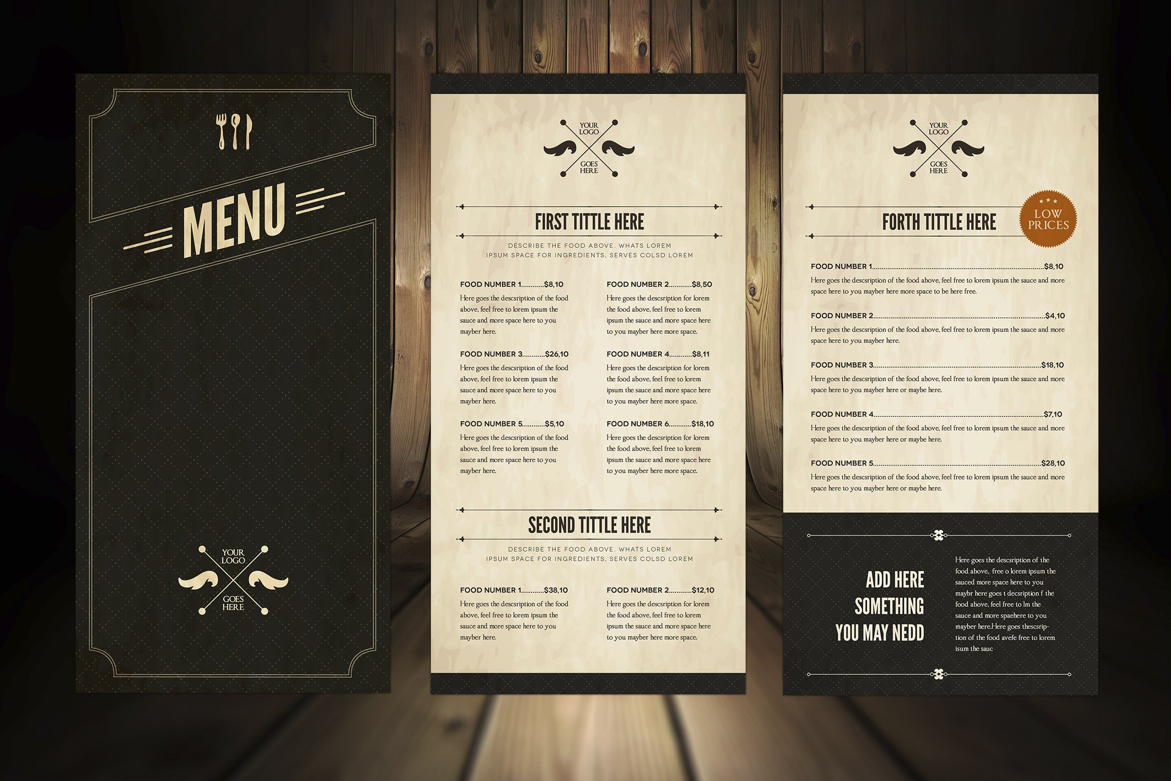 elegant food menu 5 brochure templates creative market