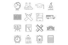 School icons set, outline ctyle