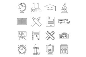 School icons set, outline ctyle