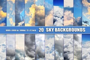 20 SKY CLOUDS Photo Backgrounds