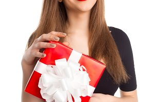model with red present box