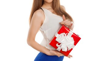 model showing her present box