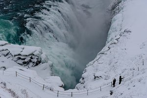 Powerful Waterfall in Winter