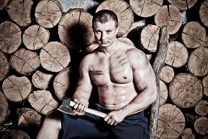strong man with hatchet