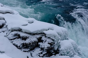 Winter Waterfall with Snow & Ice