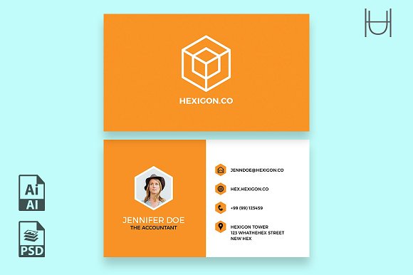 How to design impressive business cards using templates creative hexigon business card template fbccfo Image collections