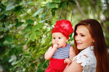 Cute Toddler Baby Girl with Mom