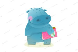 Hippopotamus Kid with Book Study