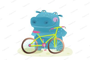 Kid Cute Hippo with Bicycle Cartoon