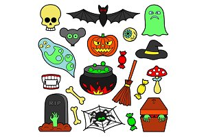 Halloween Patchs+2Seamless Patterns