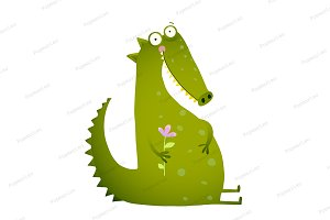 Green Kids Crocodile with Flower