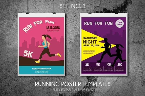 running poster template illustrations creative market