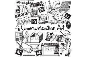 Communication art education doodle
