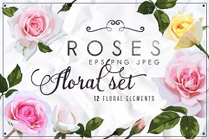 Roses set PNG EPS