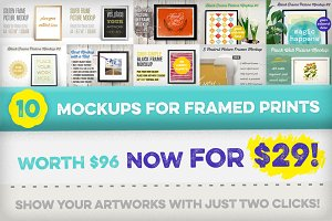 [-70%] 10 Mockups for Framed Prints