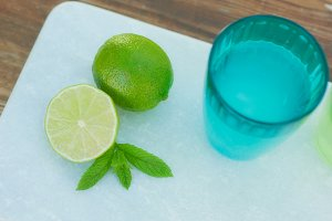 Lime and blue glas
