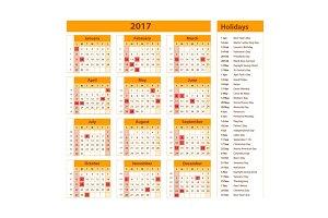 holidays calendar 2017 orange usa