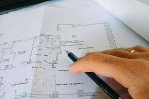 Architect working on drawings