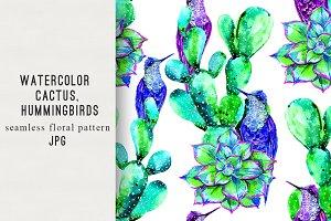 Watercolor cactus,birds pattern