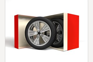 Gift Box With Wheel. 3d rendering
