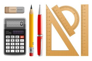 School tools for learning. Pencil. Pen. Calculator. Rulers and rubber