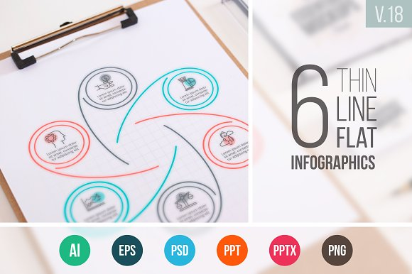 Linear elements for infographic v.18 - Presentations