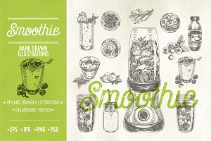 Hand drawn smoothie illustrations