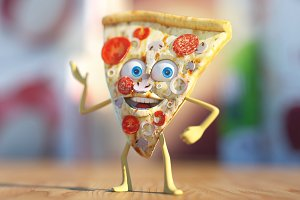 3D pizza character