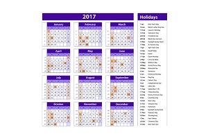 holidays calendar 2017 usa
