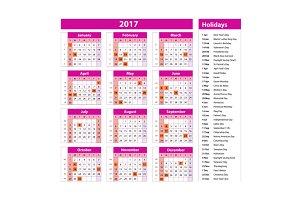 holidays calendar 2017 pink usa