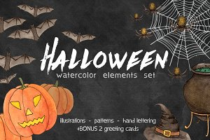 Halloween. Watercolor elements set
