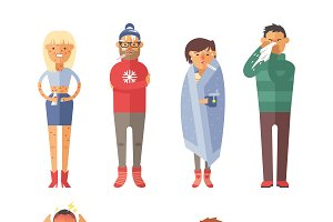 People ill vector set