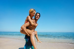 Couple enjoying piggybacking