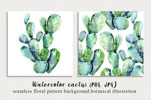 Watercolor cactus pattern,print