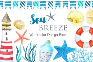 Watercolor Sea Breeze Set