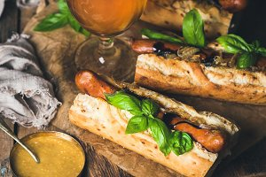 Wheat beer and grilled sausage dogs