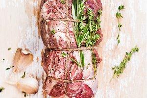 Raw uncooked roastbeef meat cut