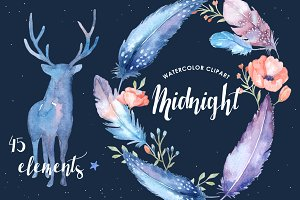 Midnight Watercolor Cliparts