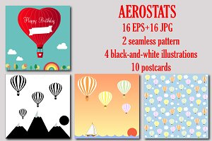 Set of hot air balloons, aerostats