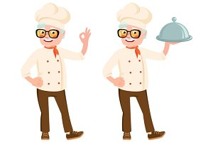 Vector cartoon senior cook