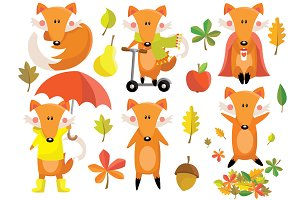 Fox Autumn Clipart Set