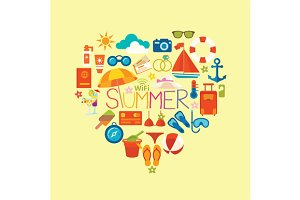 Set of icons summer and vacation