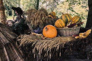 Witch and autumn harvest