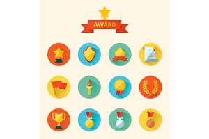 Set of flat icons sport awards